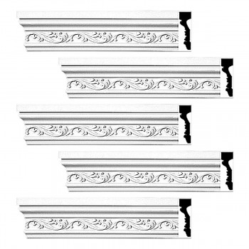 <PRE>Renovator's Supply Crown Molding White Urethane Savanah Design 5 Pieces Totaling 470inch Length</PRE>zoom1