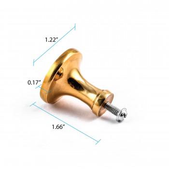 """spec-<PRE>Cabinet Knob Bright Solid Brass Pedestal 1 1/4"""" </PRE>"""