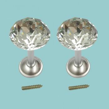 <PRE>2 Glass Curtain Tieback Holders Satin Nickel Finish 40MM </PRE>zoom2