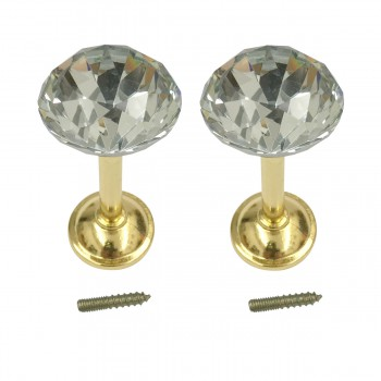 2 Glass Curtain Tieback Holders  Brass Finish 40MM 1 Pair 98713grid