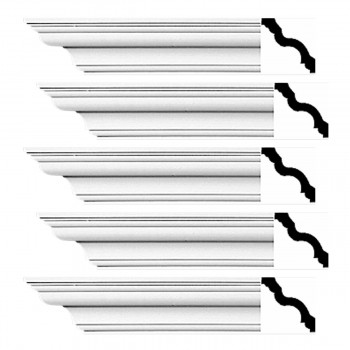 Renovators Supply Cornice White Urethane Hopewell Simple Design 5 Pieces Totaling 480 Length White PrePrimed Urethane Crown Cornice Molding Cornice Crown Home Depot Ekena Millwork Molding Wall Ceiling Corner Cornice Crown Cove Molding