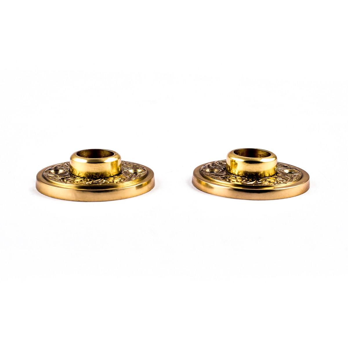 Pair 2 Victorian Cast Brass Rosette Door Hardware Door Knob Roses Door Knob Back Plates