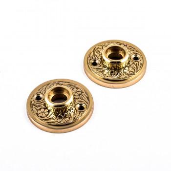 <PRE>Pair 2inch Victorian Cast Brass Rosette </PRE>zoom5
