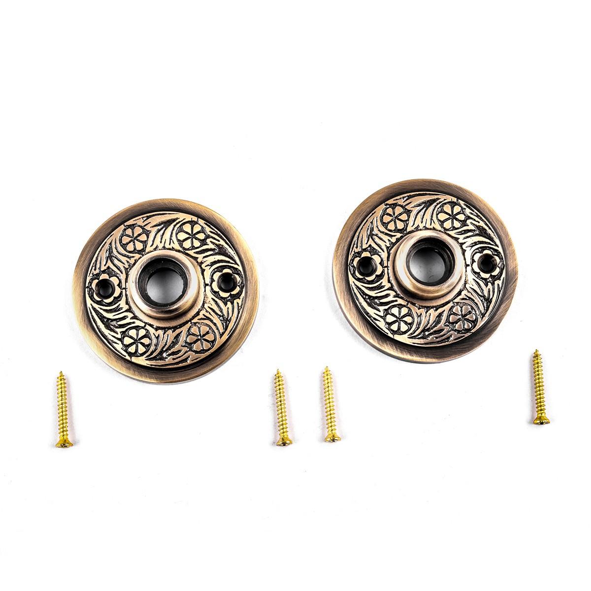 Pair Victorian Rosette Cast Antique Brass 2 716 Door Hardware Door Knob Roses Door Knob Back Plates