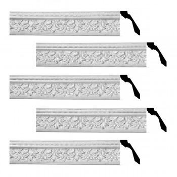 Renovators Supply Cornice White Urethane Leaf Ornate Design 5 Pieces Totaling 370 Length White PrePrimed Urethane Crown Cornice Molding Cornice Crown Home Depot Ekena Millwork Molding Wall Ceiling Corner Cornice Crown Cove Molding