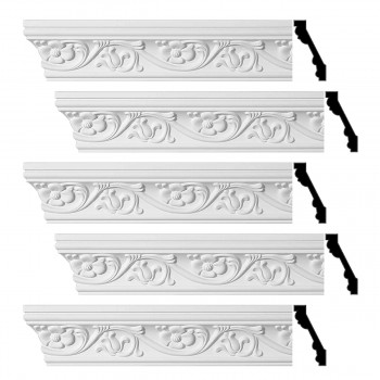Renovators Supply Ornate Cornice White Urethane Sainte Anne Design 5 Pieces Totaling 480 Length White PrePrimed Urethane Crown Cornice Molding Cornice Crown Home Depot Ekena Millwork Molding Wall Ceiling Corner Cornice Crown Cove Molding