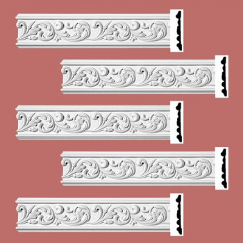 Renovators Supply Ornate Crown Molding White Urethane Kenmorer Design 5 Pieces Totaling 480 Length White PrePrimed Urethane Crown Cornice Molding Cornice Crown Home Depot Ekena Millwork Molding Wall Ceiling Corner Cornice Crown Cove Molding