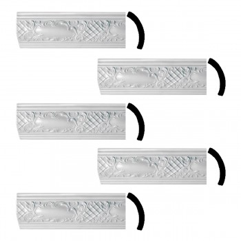 <PRE>Ornate Cornice White Urethane Brook Design 5 Pieces Totaling 236.25inch Length</PRE>zoom1