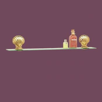 <PRE>Bathroom  Glass Shelf Bright Brass Brackets 23 5/8inchL </PRE>zoom2