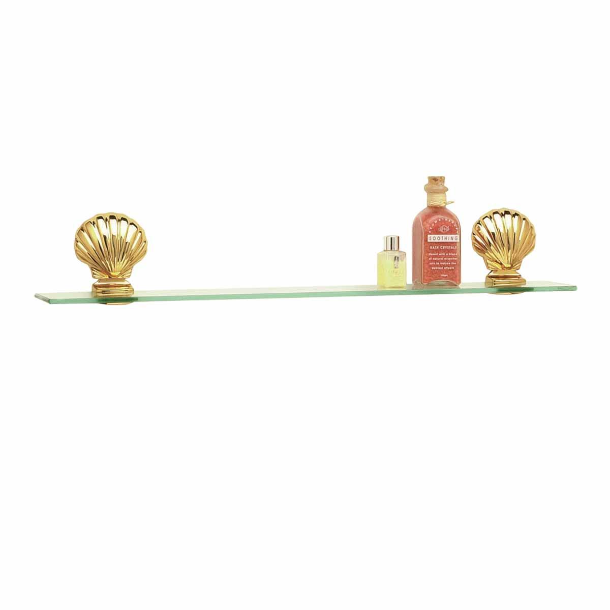 Bathroom Glass Shelf Bright Brass Brackets 23 5/8\