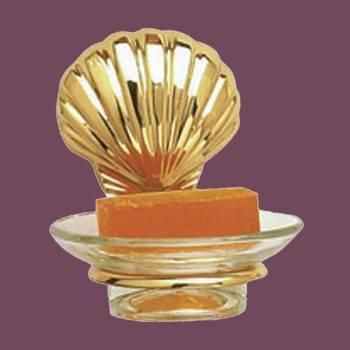 <PRE>Glass Soap Dish Brass Sea Crest  Holder </PRE>zoom2