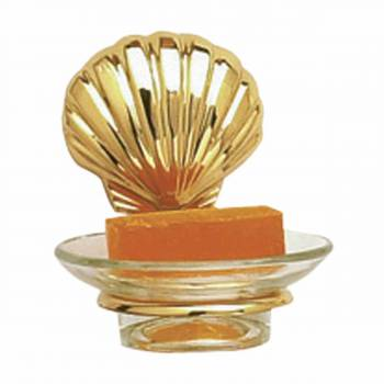 Glass Soap Dish Brass Sea Crest  Holder 98859grid