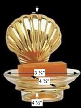 spec-<PRE>Glass Soap Dish Brass Sea Crest  Holder </PRE>