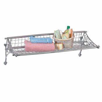 Solid Brass Train Rack Towel Shelf Chrome Finish Vintage Wire 98869grid