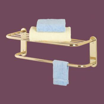 2 Tier Towel Bar Jeavy Duty Bright Solid Brass Wall Shelves Shelf Shelves