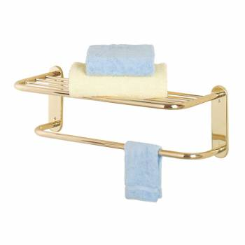2 Tier Towel Bar Jeavy Duty Bright Solid Brass
