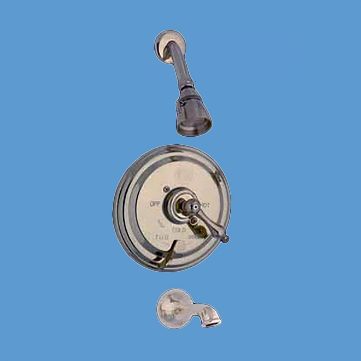 Shower Tub Faucet Mixer 1 Handle Valve Heavy Brass