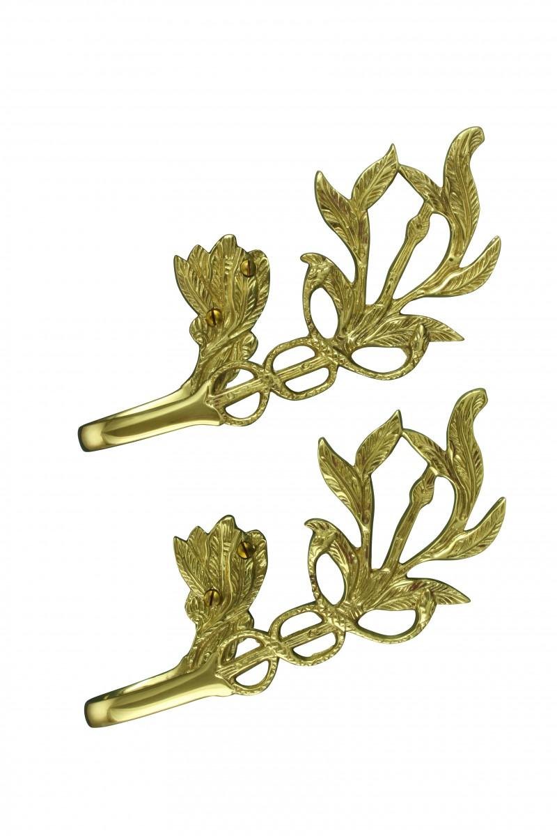 Vintage Pair Vine Curtain Tie Back Holder Bright Brass One up One Down Tie Back Curtain Back Tie Backs