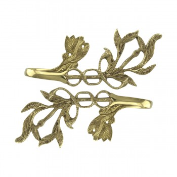 <PRE>Vintage Pair Vine Curtain Tie Back Holder Bright Brass One up One Down</PRE>zoom7