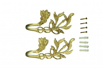 spec-<PRE>Vintage Pair Vine Curtain Tie Back Holder Bright Brass One up One Down</PRE>