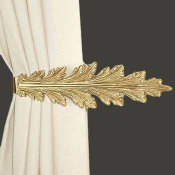 <PRE>Vintage Pair Curtain Tie Back Holder Fern Leaf Bright Brass </PRE>zoom2