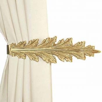 Vintage Pair Curtain Tie Back Holder Fern Leaf Bright Brass 98981grid