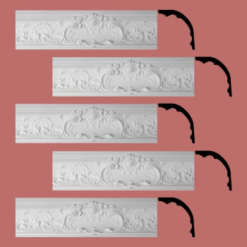 Renovators Supply Cornice White Urethane Sidartha Ornate Design 5 Pieces Totaling 390.625 Length White PrePrimed Urethane Crown Cornice Molding Cornice Crown Home Depot Ekena Millwork Molding Wall Ceiling Corner Cornice Crown Cove Molding