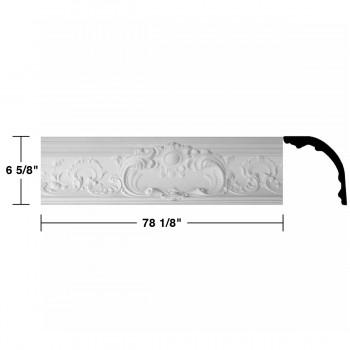 """spec-<PRE> Cornice White Urethane Sidartha Ornate Design 5 Pieces Totaling 390.625"""" Length</PRE>"""