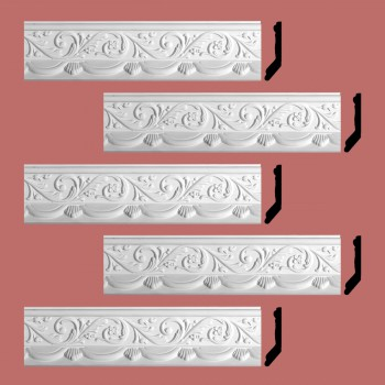 <PRE>Renovator's Supply Cornice White Urethane Letreamont Ornate Design 5 Pieces Totaling 413.75inch Length</PRE>zoom2