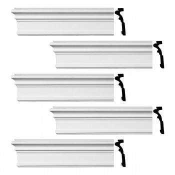 Renovators Supply Crown Molding Urethane Somerset Simple Design 5 Pieces Totaling 480 Length White PrePrimed Urethane Crown Cornice Molding Cornice Crown Home Depot Ekena Millwork Molding Wall Ceiling Corner Cornice Crown Cove Molding