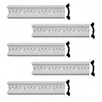 Renovators Supply Crown Molding White Urethane Beacon Hill Ornate  5 Pieces Totaling 480 Length White PrePrimed Urethane Crown Cornice Molding Cornice Crown Home Depot Ekena Millwork Molding Wall Ceiling Corner Cornice Crown Cove Molding