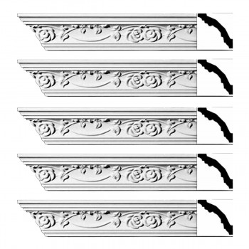Renovators Supply Ornate Cornice White Urethane Huntington Design 5 Pieces Totaling 470 Length White PrePrimed Urethane Crown Cornice Molding Cornice Crown Home Depot Ekena Millwork Molding Wall Ceiling Corner Cornice Crown Cove Molding