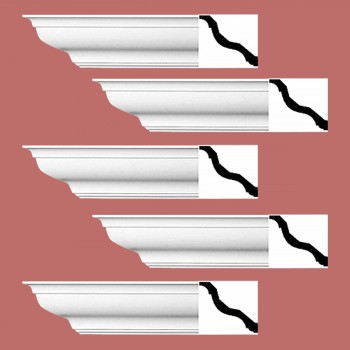 Renovators Supply Cornice White Urethane Kensinton Design 5 Pieces Totaling 470 Length White PrePrimed Urethane Crown Cornice Molding Cornice Crown Home Depot Ekena Millwork Molding Wall Ceiling Corner Cornice Crown Cove Molding