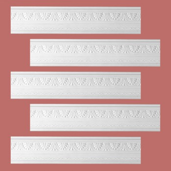 <PRE>Renovator's Supply Cornice White Urethane Pearl Ornate Design 5 Pieces Totaling 395inch Length</PRE>zoom2