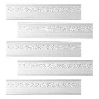 <PRE>Renovator's Supply Cornice White Urethane Pearl Ornate Design 5 Pieces Totaling 395inch Length</PRE>zoom1