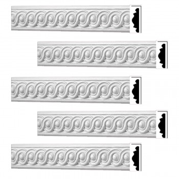 Renovators Supply Crown Molding White Urethane Celeste Ornate  5 Pieces Totaling 397.5 Length White PrePrimed Urethane Crown Cornice Molding Cornice Crown Home Depot Ekena Millwork Molding Wall Ceiling Corner Cornice Crown Cove Molding