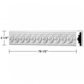 "spec-<PRE> Crown Molding White Urethane Celeste Ornate  5 Pieces Totaling 397.5"" Length</PRE>"