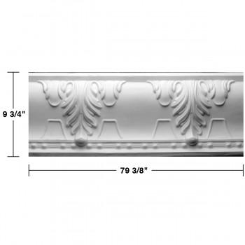 "spec-<PRE> Cornice White Urethane Autumn Melody Design 5 Pieces Totaling 396.875"" Length</PRE>"