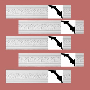 <PRE>Renovator's Supply White Urethane Foam Palso - Cornice - Ornate  5 Pieces Totaling 488.75inch Length</PRE>zoom2