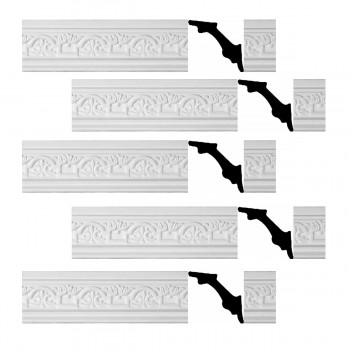 Renovators Supply White Urethane Foam Palso  Cornice  Ornate  5 Pieces Totaling 488.75 Length White PrePrimed Urethane Crown Cornice Molding Cornice Crown Home Depot Ekena Millwork Molding Wall Ceiling Corner Cornice Crown Cove Molding