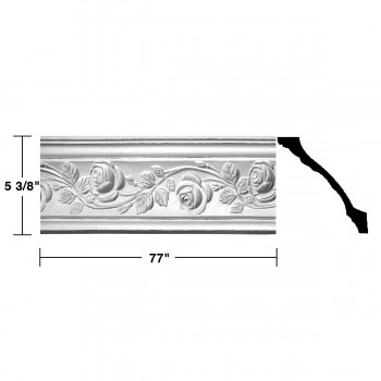 "spec-<PRE>Renovator's Supply Cornice White Urethane Bridge Of Flowers Ornate  16 Pieces Totaling 1232"" Length</PRE>"