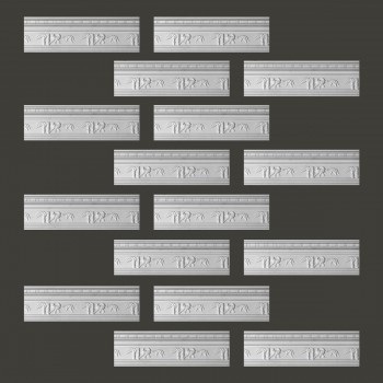 "spec-<PRE> Cornice White Urethane Tropicana Ornate Design 16 Pieces Totaling 1528"" Length</PRE>"