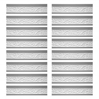 Renovators Supply Cornice White Urethane Somber Water Design 16 Pieces Totaling 1258 Length White PrePrimed Urethane Crown Cornice Molding Cornice Crown Home Depot Ekena Millwork Molding Wall Ceiling Corner Cornice Crown Cove Molding