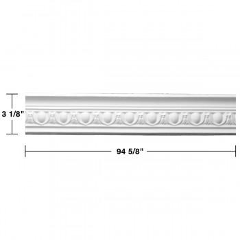 "spec-<PRE>Renovator's Supply Ornate White Urethane Foam Emperial Cornice  16 Pieces Totaling 1514"" Length</PRE>"