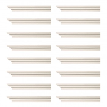 Renovators Supply Cornice White Urethane Papillon Simple Design 16 Pieces Totaling 1504 Length White PrePrimed Urethane Crown Cornice Molding Cornice Crown Home Depot Ekena Millwork Molding Wall Ceiling Corner Cornice Crown Cove Molding