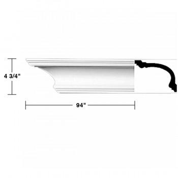 "spec-<PRE>Renovator's Supply Cornice White Urethane Asheville Simple Design 16 Pieces Totaling 1504"" Length</PRE>"