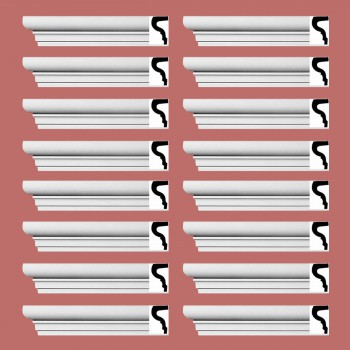 "spec-<PRE> Cornice White Strasbourg Design 16 Pieces Totaling 1536"" Length</PRE>"