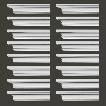 "spec-<PRE> Cornice White Urethane Ipswich Simple Design 16 Pieces Totaling 1504"" Length</PRE>"