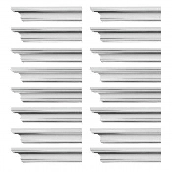 Renovators Supply Cornice White Urethane Ipswich Simple Design 16 Pieces Totaling 1504 Length White PrePrimed Urethane Crown Cornice Molding Cornice Crown Home Depot Ekena Millwork Molding Wall Ceiling Corner Cornice Crown Cove Molding