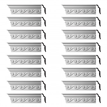 Renovators Supply Ornate Cornice White Urethane Lilith Design 16 Pieces Totaling 1536 Length White PrePrimed Urethane Crown Cornice Molding Cornice Crown Home Depot Ekena Millwork Molding Wall Ceiling Corner Cornice Crown Cove Molding
